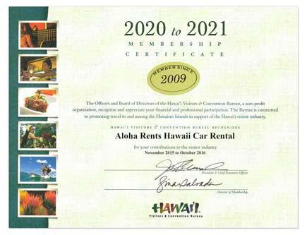 Hawaii Visitors & Convention Bureau HVCB Membership Certificate