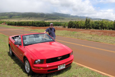Owner standing next to a Ford Mustang rental car